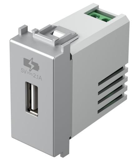 Зарядний пристрій USB 1 модуль 5В, 2,1А колір срібний металік EM66ES