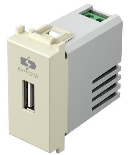 Зарядний пристрій USB 1 модуль 5В, 2,1А колір слонова кістка EM66IW