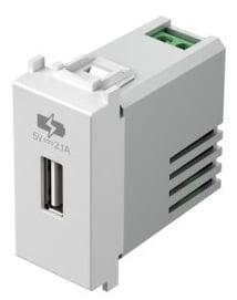 Зарядний пристрій USB 1 модуль 5В, 2,1А колір сніжно-білий EM66PW