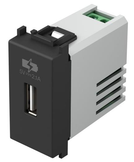Зарядний пристрій USB 1 модуль 5В, 2,1А колір чорний матовий EM66SB