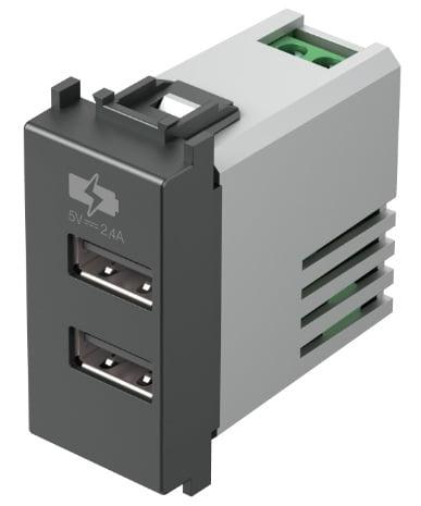 Двойний зарядний пристрій USB 1 модуль 5В, 2,4А колір антрацит EM67AT