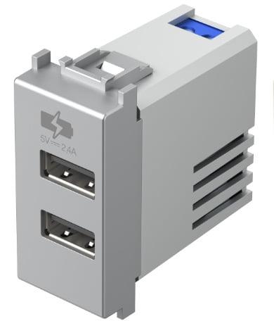 Двойний зарядний пристрій USB 1 модуль 5В, 2,4А колір срібний металік EM67ES
