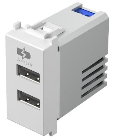 Двойний зарядний пристрій USB 1 модуль 5В, 2,4А колір сніжно-білий EM67PW