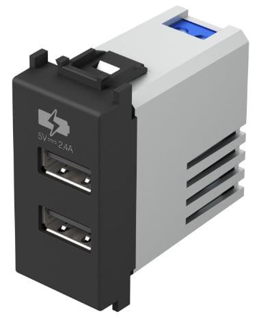 Двойний зарядний пристрій USB 1 модуль 5В, 2,4А колір чорний матовий EM67SB