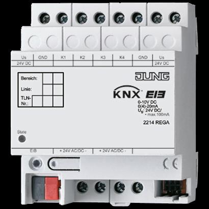 KNX аналоговий вхід, 4 групи