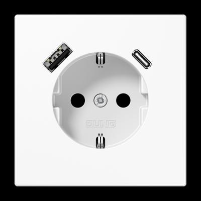 Розетка SCHUKO з USB-інтерфейсом type A + type C Біла