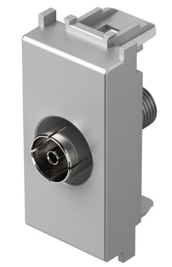 Розетка телевізійна TV - базова, 1 модуль, колір срібний металік KM10ES