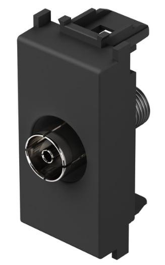 Розетка телевізійна TV - базова, 1 модуль, колір чорний матовий KM10SB