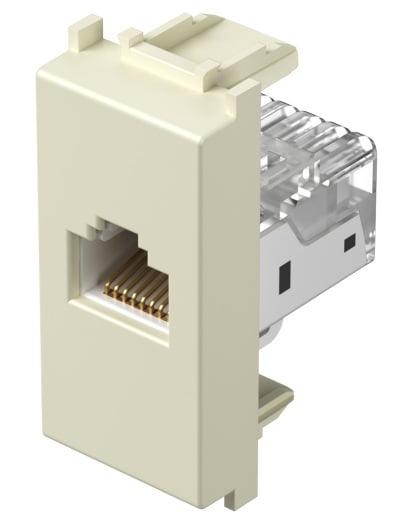 Розетка інформаційна один вихід RJ45 UTP (8 контактів), 5е категорія, 1 модуль, колір слонова кістка KM37IW