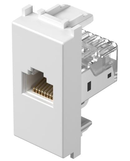 Розетка інформаційна один вихід RJ45 UTP (8 контактів), 5е категорія, 1 модуль, колір сніжно-білий KM37PW