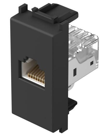 Розетка інформаційна один вихід RJ45 UTP (8 контактів), 5е категорія, 1 модуль, колір чорний матовий KM37SB