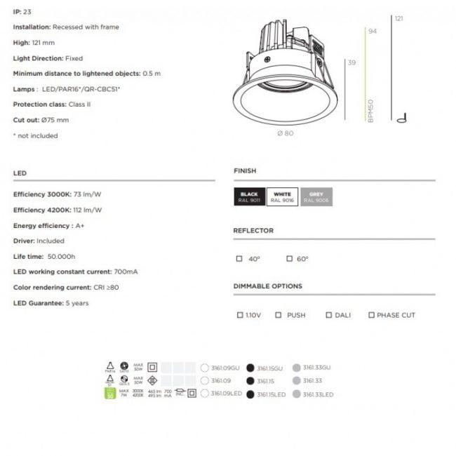 Вбудований точковий світильник BPM Koni