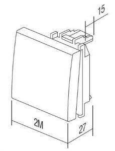 Клавіша на однополюсний вимикач з індикацією 2 модулі колір слонова кістка TM12IWIN