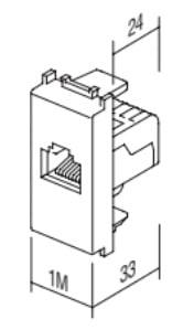 Розетка інформаційна один вихід RJ45 UTP (8 контактів), 6 категорія, 1 модуль, колір слонова кістка KM39IW