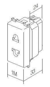 Розетка Євро-Американський стандарт 1 модуль 16А, 250В колір слонова кістка VM21IW