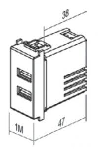 Двойний зарядний пристрій USB 1 модуль 5В, 2,4А колір слонова кістка EM67IW