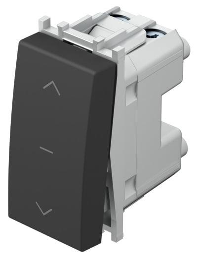 Вимикач кнопковий для жалюзі 1-0-2 16А 250В 1 модуль колір антрацит SM41ATNT10