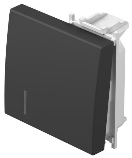 Клавіша на однополюсний вимикач з індикацією 2 модулі колір чорний матовий TM12SBIN