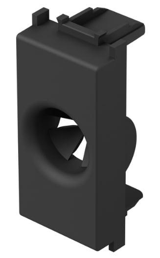 Розетка для виводу кабеля, 1 модуль, колір чорний матовий TM31SB