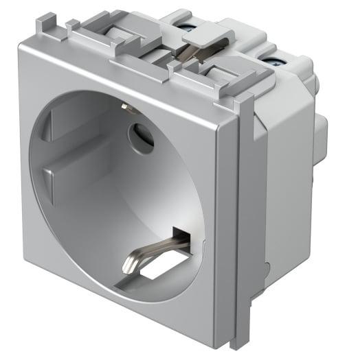 Розетка з заземлюючим контактом 2 модулі 16А, 250В колір срібний металік VM10ES