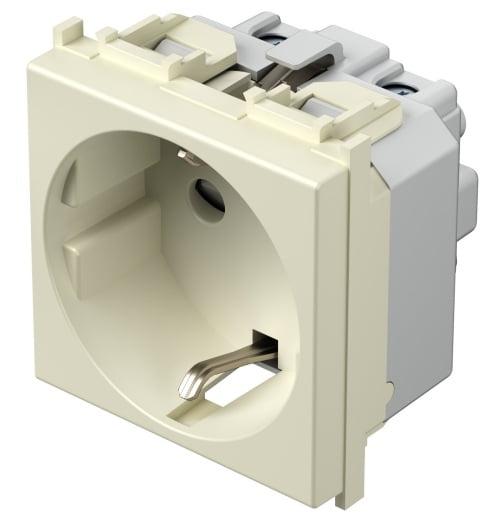 Розетка з заземлюючим контактом 2 модулі 16А, 250В колір слонова кістка VM10IW