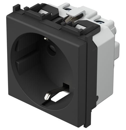 Розетка з заземлюючим контактом 2 модулі 16А, 250В колір чорний матовий VM10SB