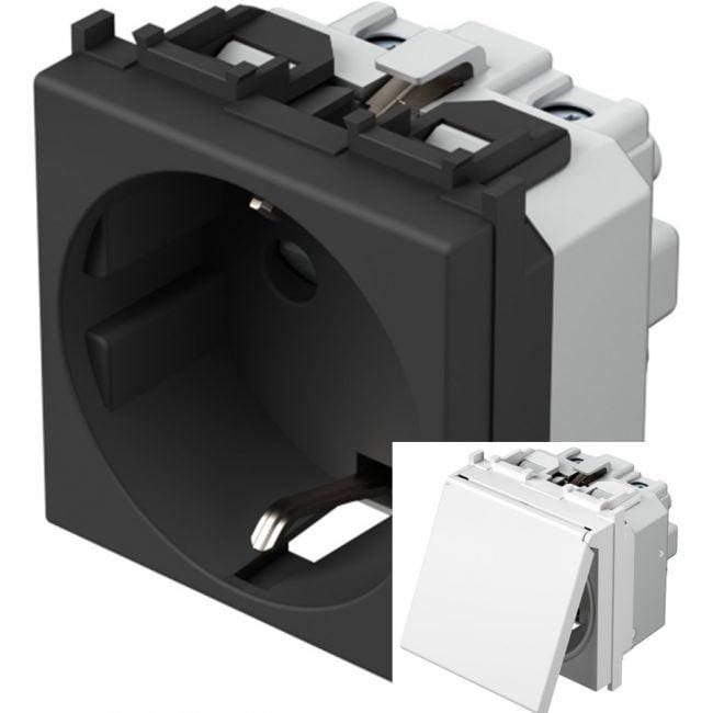 Розетка з заземлюючим контактом та кришкою 2 модулі 16А, 250В колір антрацит VM11AA