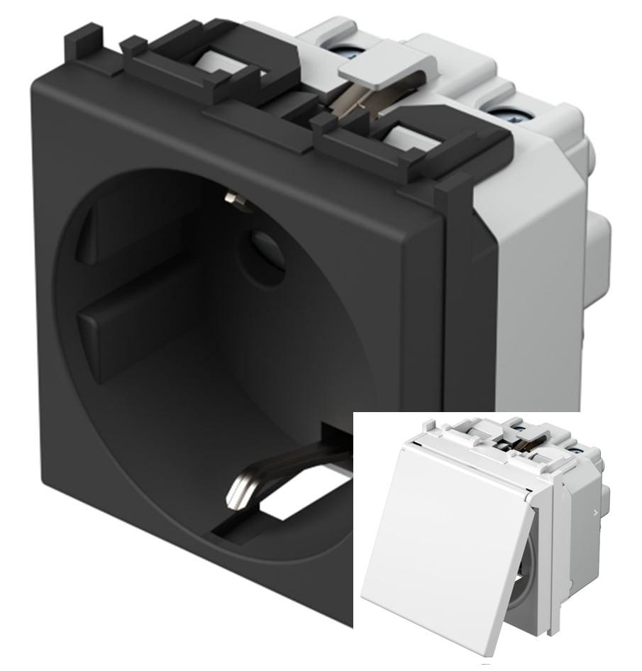 Розетка з заземлюючим контактом та кришкою 2 модулі 16А, 250В колір чорний матовий VM11BB