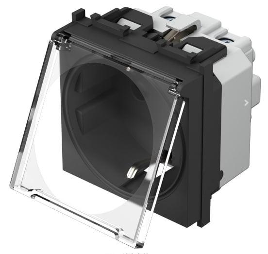 Розетка з заземлюючим контактом та прозорою кришкою 2 модулі 16А, 250В колір чорний матовий VM11BT