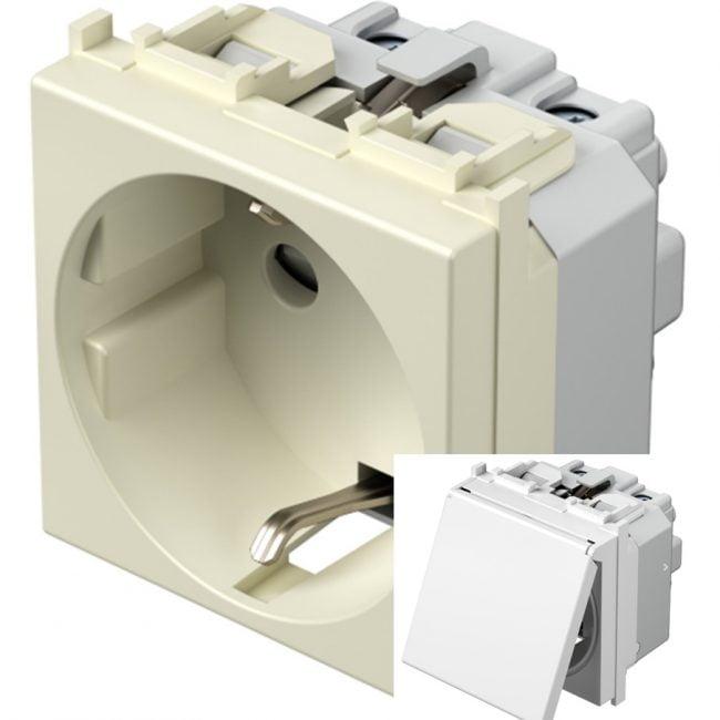 Розетка з заземлюючим контактом та кришкою 2 модулі 16А, 250В колір слонова кістка VM11II