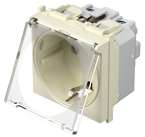 Розетка з заземлюючим контактом та прозорою кришкою 2 модулі 16А, 250В колір слонова кістка VM11IT
