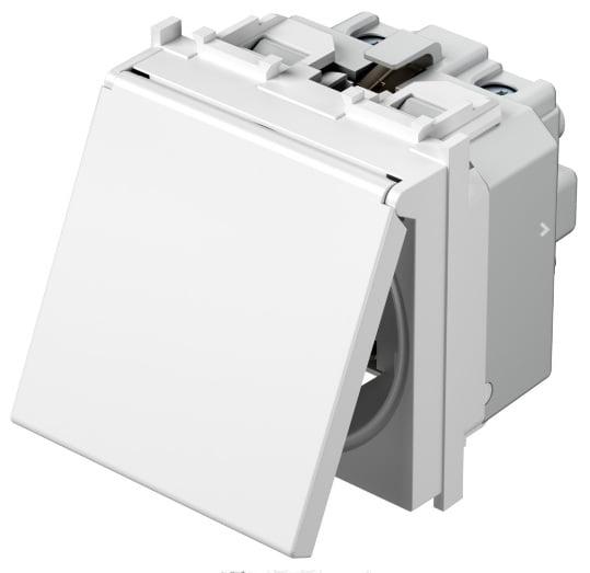 Розетка з заземлюючим контактом та кришкою 2 модулі 16А, 250В колір сніжно-білий VM11PP