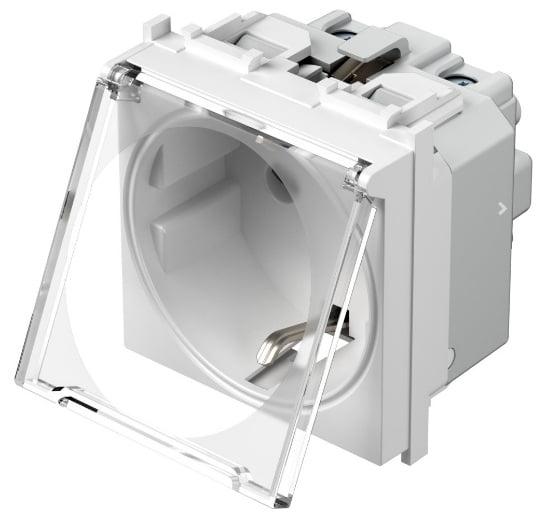 Розетка з заземлюючим контактом та прозорою кришкою 2 модулі 16А, 250В колір сніжно-білий VM11PT