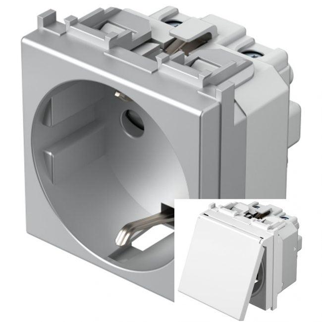 Розетка з заземлюючим контактом та кришкою 2 модулі 16А, 250В колір срібний металік VM11SS