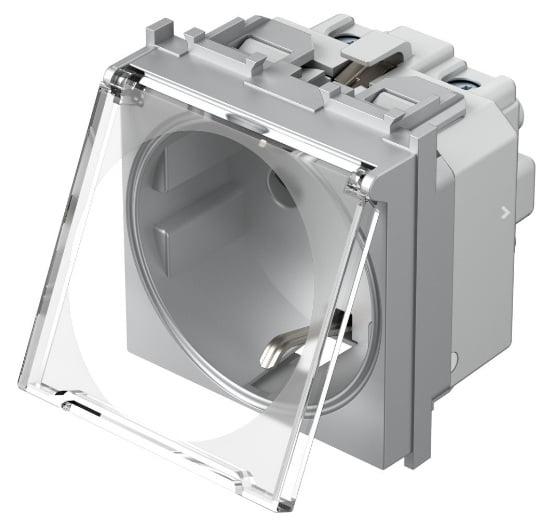 Розетка з заземлюючим контактом та прозорою кришкою 2 модулі 16А, 250В колір срібний металік VM11ST