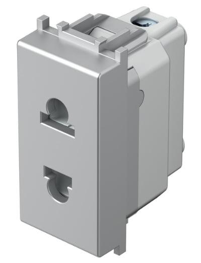 Розетка Євро-Американський стандарт 1 модуль 16А, 250В колір срібний металік VM21ES