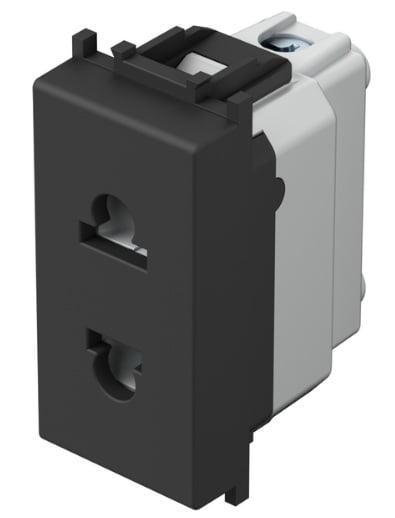 Розетка Євро-Американський стандарт 1 модуль 16А, 250В колір чорний матовий VM21SB