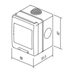 Корпус вологозахищений IP55 для накладного монтажу, серія NO CUBO, 2 модуля, колір сірий AQ20GY