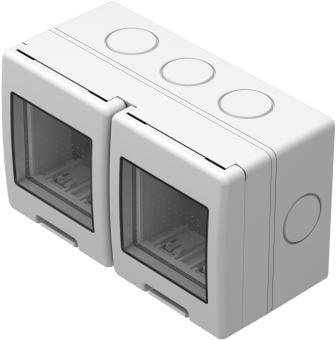 Корпус подвійний вологозахищений IP55 для накладного монтажу, серія NO CUBO, 2х2 модуля, колір сірий AQ22GY