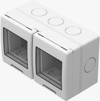 Корпус подвійний вологозахищений IP55 для накладного монтажу, серія NO CUBO, 2х2 модуля, колір сніжно-білий AQ22PW
