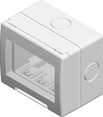 Корпус вологозахищений IP55 для накладного монтажу, серія NO CUBO, 3 модуля, колір сірий AQ30GY