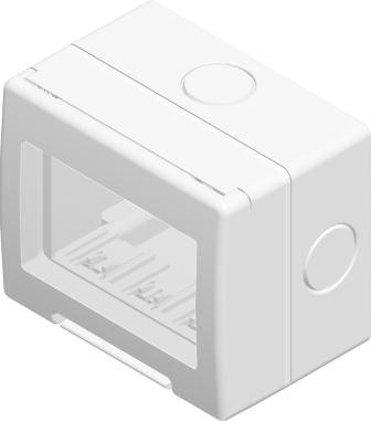 Корпус вологозахищений IP55 для накладного монтажу, серія NO CUBO, 3 модуля, колір сніжно-білий AQ30PW
