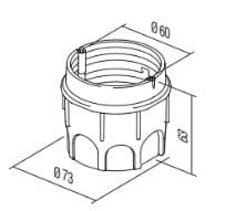 Коробка кругла поглиблена для твердих стін 2 модуля DE13