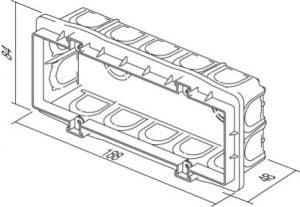 Коробка прямокутна для твердих стін 7 модулів DM70