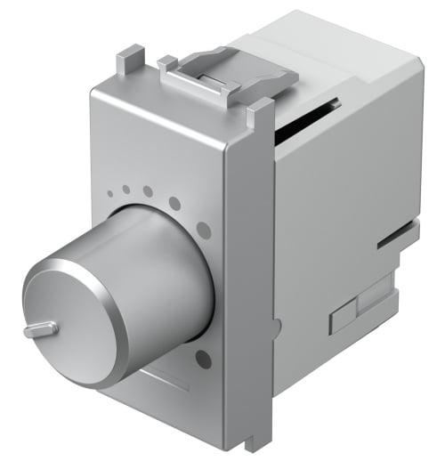 Світлорегулятор поворотний двохпозиційний LED 180Вт, 1 модуль, колір срібний металік EM14ES