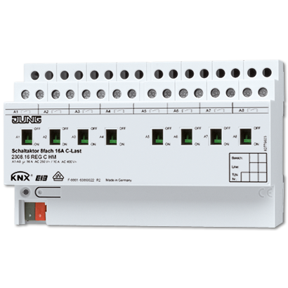 KNX актуатор комутуючий, 8 груп, C-нагрузка