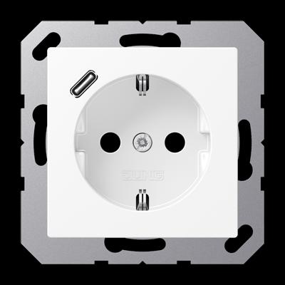 Розетка SCHUKO з USB тип C A1520-18CWW