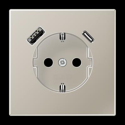 Розетка LS 990 SCHUKO з USB-інтерфейсом type A + type C Алюміній