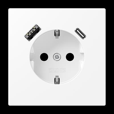 Розетка SCHUKO з USB тип AC LS1520-15CAWWM