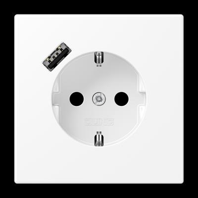Розетка LS 990 SCHUKO з USB-інтерфейсом type A Алюміній Dark